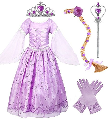 Girls Rapunzel Deluxe Princess Party Dress Costume (7-8, Style 2) (Deluxe Costume Gloves)