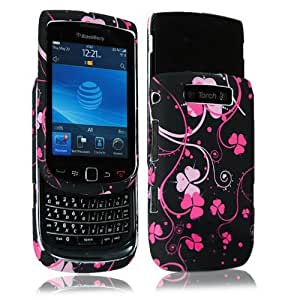 Cellularvilla Design Snap on Hard Case Cover Skin Protector for Blackberry Torch 9800 + Stylus Touch Pen (Pink Flower)
