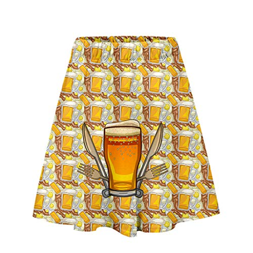 Friendly Women's Summer A-Line Short Skirt Ladies'3D Beer Festival Printing Easy Casual Short Skirt Gold