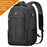 Sosoon Laptop Backpack, Business Bags with USB Charging Port Anti-Theft Water Resistant Polyester School Bookbag for College Travel Backpack for 15.6-Inch Laptop and Notebook, Black