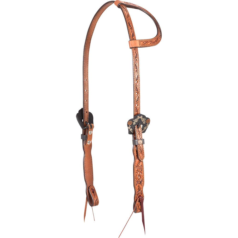 Cashel Company Natural Single Ear Headstall with Guns and Roses Buckles