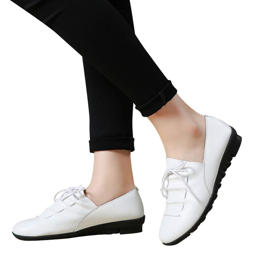Women's Spring Summer Flat Leather Shoes Casual Ankle Shoes Comfortable Breathable Lace-up Outdoor Sneakers (White, US:8.0)