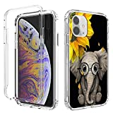 iPhone 11 Case,Amook Shockproof Hybrid Hard PC & Soft TPU Bumper Cover Clear with Design Dual Layer Protective Case for Apple iPhone 11 6.1 Inch 2019-Transparent/Elephant with Sunflower