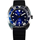 Pantor Sealion 300m Pro Diver Automatic Watch with Helium Valve Blue Dial Sapphire Stainless Steel Rotating Bezel Rubber Strap