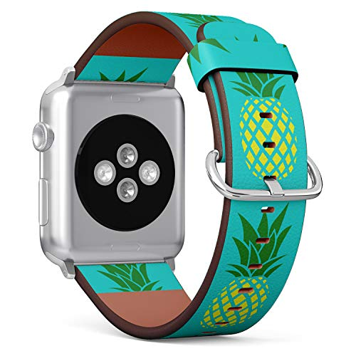 (Pineapple on Turquoise Background) Patterned Leather Wristband Strap for Apple Watch Series 4/3/2/1 gen,Replacement for iWatch 42mm / 44mm Bands ()