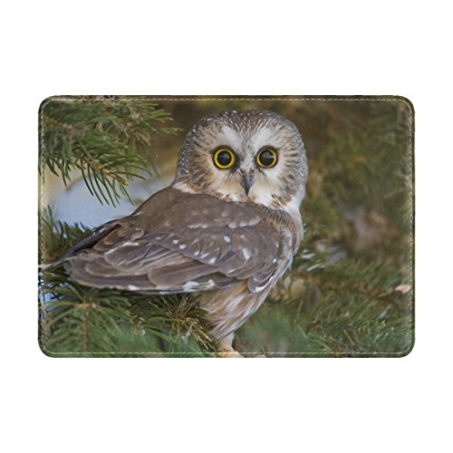 Animal Owl Australian Masked Adorable Fluffy Small Real Tree Scenic Leather Passport Holder Cover Case Travel One Pocket
