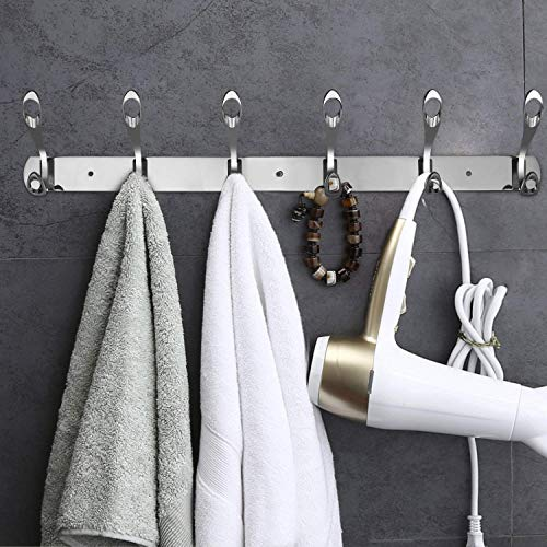 GRECEDAY Wall Mounted Hooks, Stainless Steel Rack Wall Hanger with 6 Double Hooks Design, Coat Towel Rail Hook for Foyer, Hallways, and Bedrooms