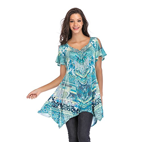 OneWorld Womens Cold Shoulder Boho Floral Print Asymmetrical Hem Tunic Top Blouse