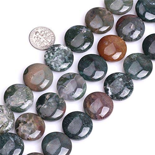 Joe Foreman Moss Agate Beads for Jewelry Making Natural Semi Precious Gemstone 20mm Coin Strand 15