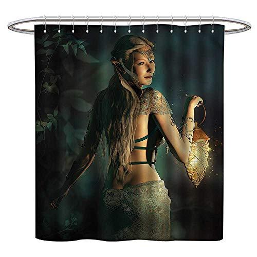 TimBeve Shower Curtain Hooks Fairy,Elf Princess Lantern,Hand Drawing Effect Fabric Shower Curtains 47