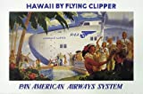 """Vintage Aviation Plane Poster """"Hawaii By Flying Clipper Pan American Airways System offers"""