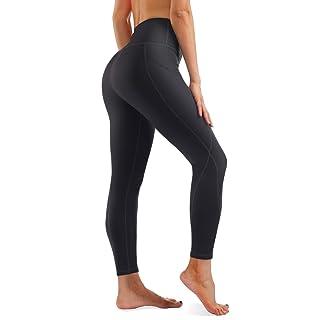Rocorose Women's Workout Running Leggings High Waist Tummy Control Sides Pockets Sports Tights Black L
