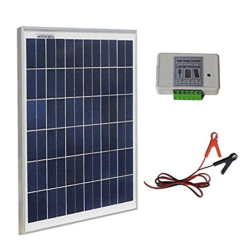 - ECO-WORTHY 20W 12V IP65 Solar Panel Kit: 20W Off Grid Polycrystalline Solar Panel & Aluminum Battery Clips & 3A Charge Controller