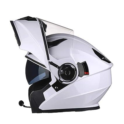 Tapa de Seguridad abatible hacia Arriba para Four Seasons 55-65cm Casco de Motocicleta de Rostro Completo para Hombres con Bluetooth Casco antifogging de Doble Lente para Motocicleta