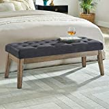 WEMART Velvet Upholstered Tufted Bench with Solid Wood Leg,Ottoman with Padded Seat-Midnight