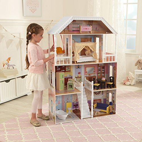 Solid Wood Savannah 4 Story Dollhouse with 13 Accessories Included