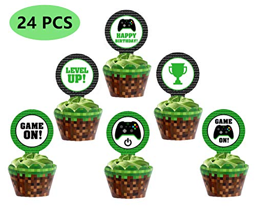 Video Game Party Cupcake Toppers Includes 6 Styles Totaling 24 Pieces,Perfect For Gaming Theme Party,Birthday Party Inspired Supplies.]()