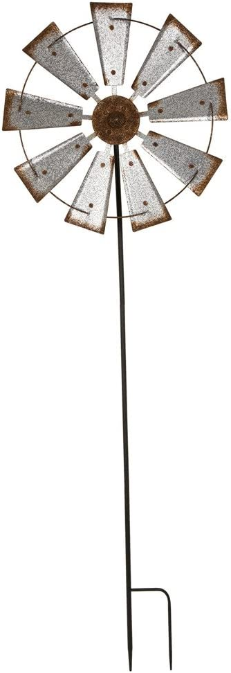 """Glitzhome 68.5"""" H Galvanized Windmill Yard Stake Outdoor Metal Stick Art Ornament Decor Indoor Wall Signs Rustic Decor for Lawn Yard Patio"""