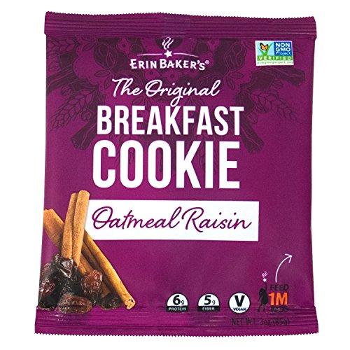 1 Oatmeal Raisin Cookie - Erin Baker's Breakfast Cookies, Oatmeal Raisin, Whole Grain, Vegan, Non-GMO, 3-ounce (Pack of 12)
