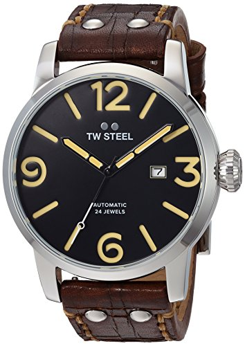TW Steel Men's 'Maverick' Quartz Stainless and Leather Casual Watch, Color:Brown (Model: MS6)
