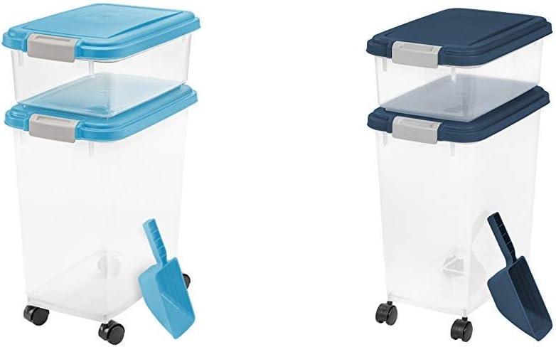 IRIS USA, Inc. 3- Piece Airtight Pet Food Storage Container Combo, Blue Moon 3 Piece Airtight Pet Food Storage Container Combo, Navy Blue