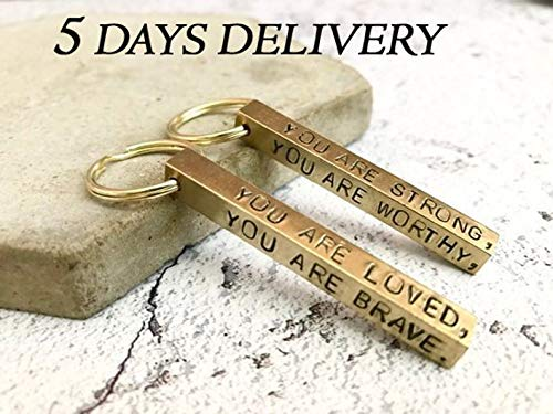 PORTHO Personalized Valentine's Gifts Stamped bar Key Ring Brass Key Chain, Personalized bar Keyring, Gifts for him, Fathers Gift Men's Accessories (Three Side Engrave (17.85 ))