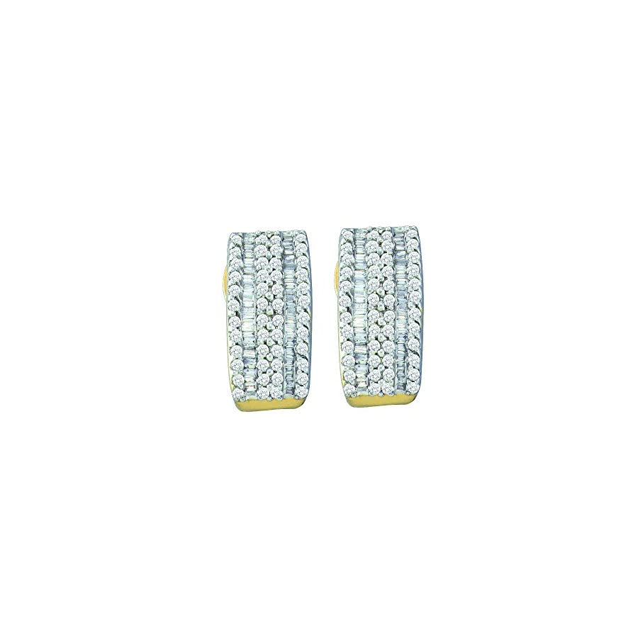14k Yellow Gold Round Baguette Diamond Vertical Stripe Hoop Earrings (7/8 Cttw)