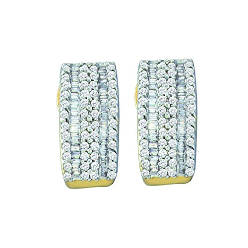 14K Yellow Gold Beautiful Baguette Diamond Hoop Earrings 7/8 Ctw. - Baguette Diamond Gold 14k Hoop