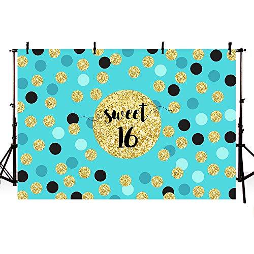 COMOPHOTO Sweet 16 Photography Backdrops 7x5ft Golden Points Step and Repeat Background Girl's Birthday Party Decorations Photo Shooting Event Backdrop