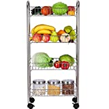 Rolling cart, stainless steel, 4 baskets for kitchen and bathroom. Silver