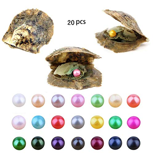 Akoya Pearl Oyster, 20 PCS Love Wish Saltwater Akoya Pearl Oyster 7-8mm Pearl Inside for Jewelry Making or Birthday Gifts