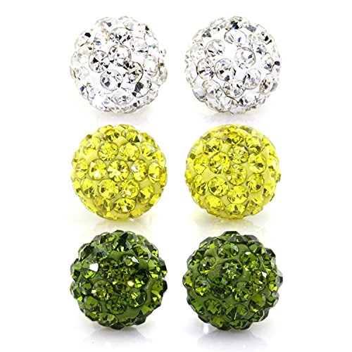 - JewelrieShop Rhinestones Crystal Ball Stud Earrings Set Fireball Disco Ball Pave Bead Earrings Hypoallergenic for Teen Girls Women (Set P. 8mm x 3 Pairs (White, Yellow, Green))