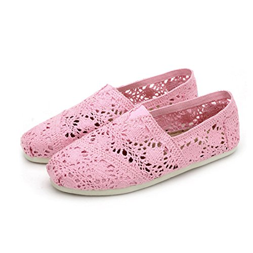 Espadrilles Ballet Out YIBLBOX Hollow Shoe Pink Original Womens Classic Breathable Flat Lace FAqvxAE