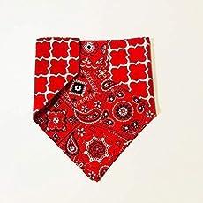 Blue Paisley Reversible Pattern Dog Bandana No Tie Design Christmas