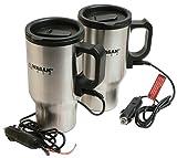 Wagan 2 Pack Stainless Steel Heated Travel Mugs
