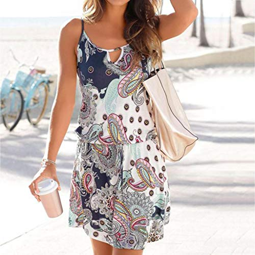 Quelife Dress for Women Casual Bohemia Printed Sleeveless Summer Halter Dresses Girl Ladies for Party (White,M) by Quelife (Image #3)