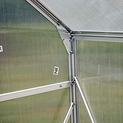 Outsunny Aluminum 4.25' L x 6.25'W x 7.2'H Polycarbonate Portable Walk-in Garden Greenhouse