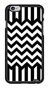 Black and White Stripes Chevron Zig Zag Snap-On Cover Hard Plastic Case for iPhone 6 (Black)