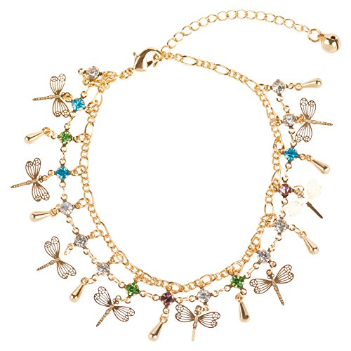 24K Gold Rhinestone Dragonfly Charm Fashion Women's Chain Bracelet and Anklet ()