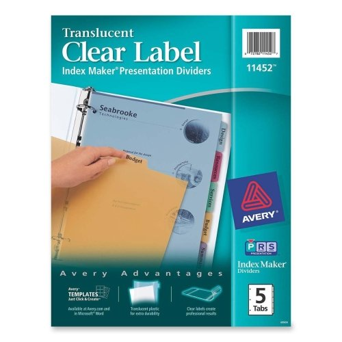 Wholesale CASE of 25 - Avery Multi Clr Tab Trnslucnt Plastic Index Dvders-Index Label Dividers, Plastic, 5-Tab, 3HP Punched, Multi (Punched Plastic 3hp Tab 5)