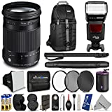Sigma 18-300mm f/3.5-6.3 DC Macro OS HSM (C) Contemporary Lens for NIKON DSLR Cameras w/ Complete Flash, Photo and Travel Bundle