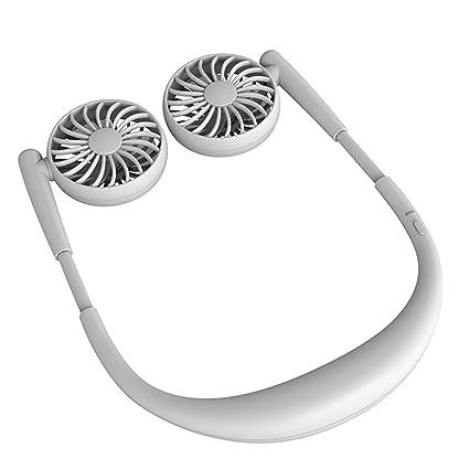 Neckband Fan Neckband Cooling Fan Portable Neckband Fan with USB Rechargeable Travel Outdoor Office Blue