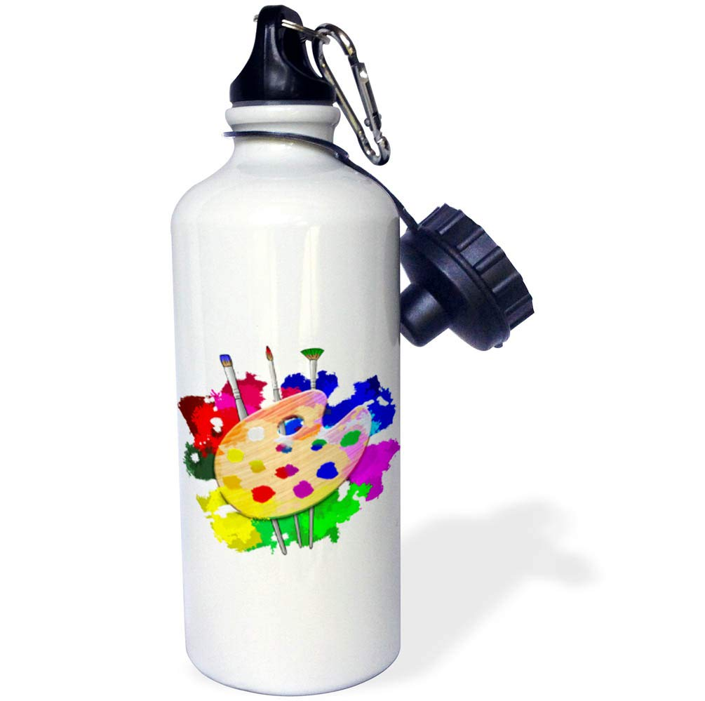 3dRose Macdonald Creative Studios – Artist - A Fun and Colorful Art Art Palette and Brushes for Any Artist. - 21 oz Sports Water Bottle (wb_291841_1)