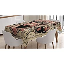 Deer Decor Tablecloth by Ambesonne, Modern Artsy Illustration of Skull Deer and Wolves with Floral Design Majestic Antler, Dining Room Kitchen Rectangular Table Cover, 52 X 70 Inches