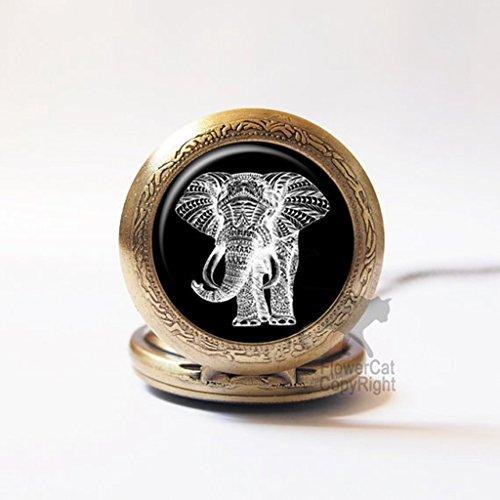Joyplancraft Vintage Elephant Pocket Watch Necklace Brass Amulet Watch Necklace ()