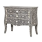 Black & Bone Inlay Queen Anne Chest of Drawers
