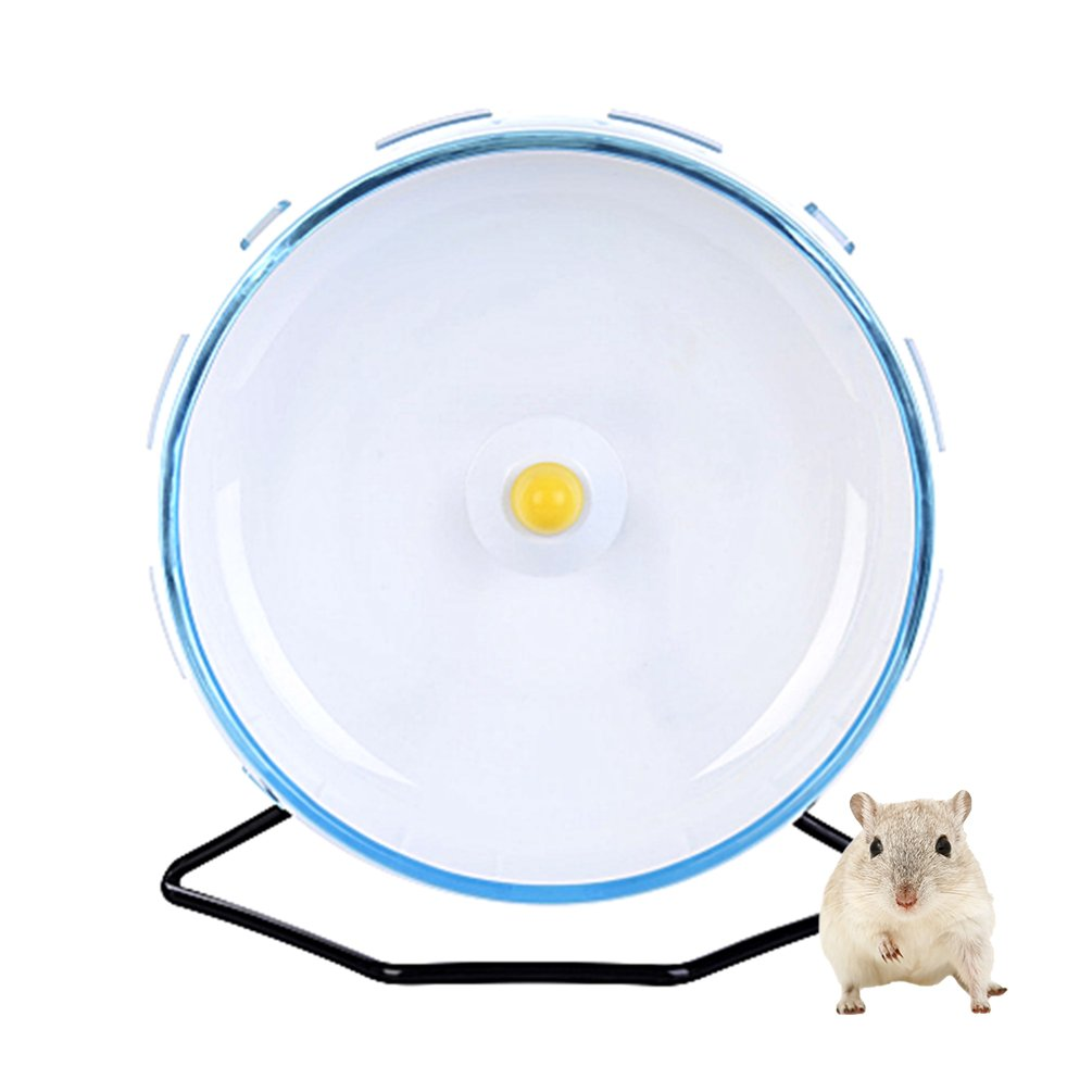 Petacc Hamster Exercise Wheel Hamster Toy Small Animal Wheel with Holder, 8'' Diameter (Blue)