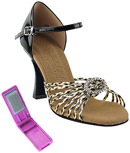 Very Fine Ballroom Latin Tango Salsa Dance Shoes for Women S9283 2.5-Inch Heel + Foldable Brush Bundle Black-gold Braid