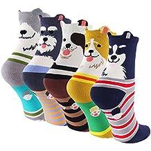 Cartoon Cotton Dog Crew Socks - KEAZA WZ10 Christmas Gift Package Novelty Liner Socks for Women 5-pack