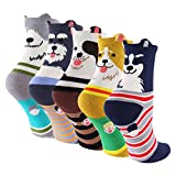 Cartoon Cotton Dog Crew Socks - KEAZA Package Novelty Liner Socks for Women 5-pack WZ10 (C1)